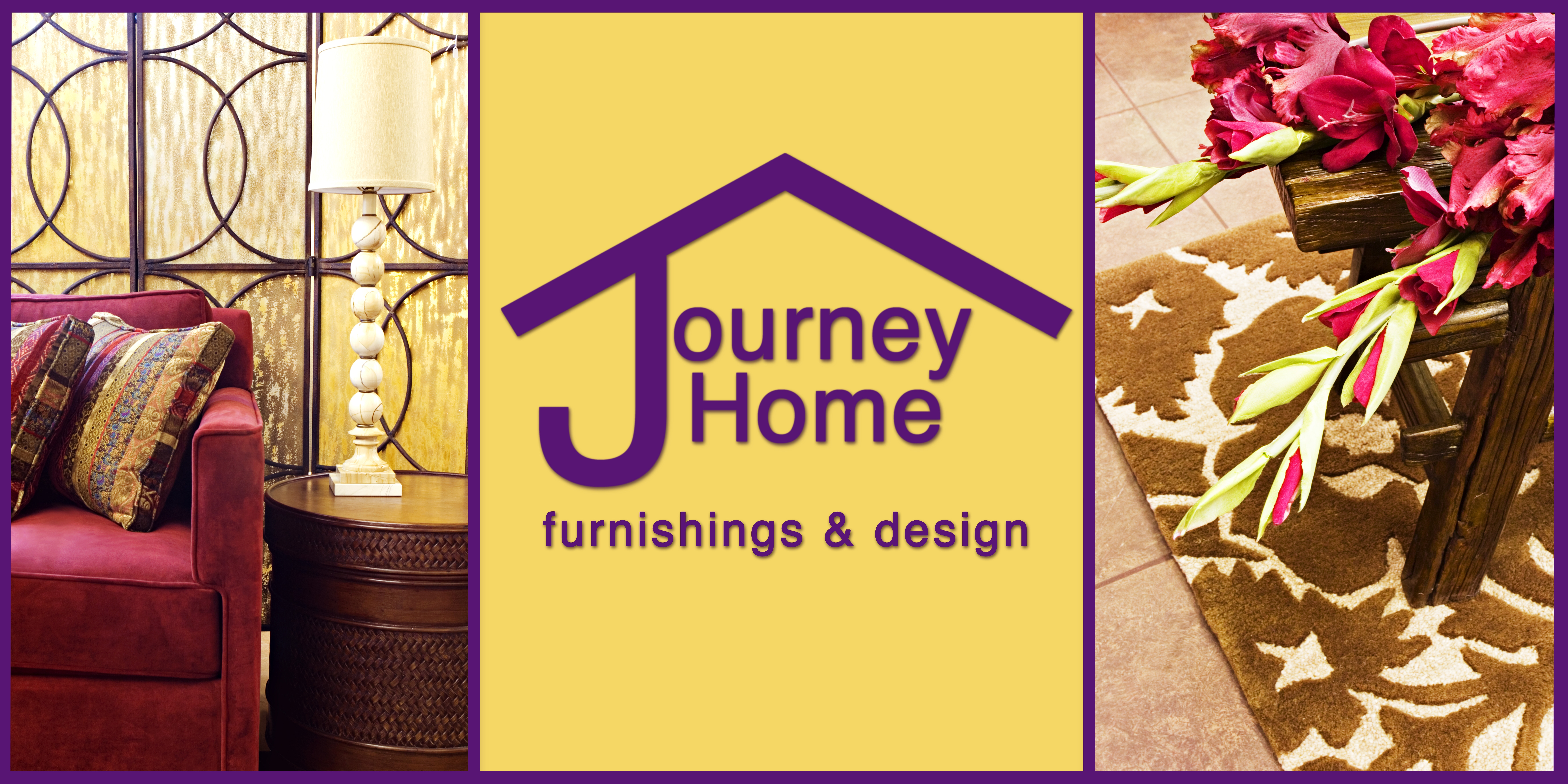 left frame: couch, lamp, and side table. center: large purple and yellow logo banner; house with words journey home; right frame: rug and bench with flowers
